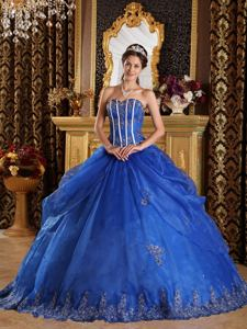 Appliques Decorated Blue Sweet 16 Dresses with Lace Edge near Ashland WI