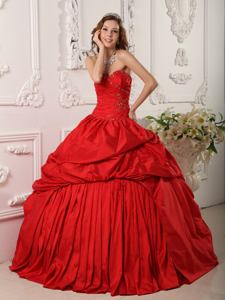 Beading and Ruching Red Sweet 15 Dresses with Pick Ups near Appleton WI