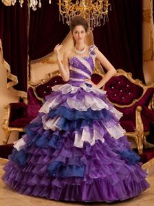 Multi-color Ruffled Layers Quince Dresses with Jewelry near Hurricane WV