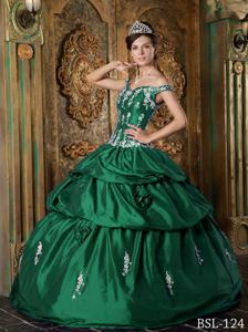 Straps Green Quinceanera Dress with Appliques and Flowers in Lansing WV