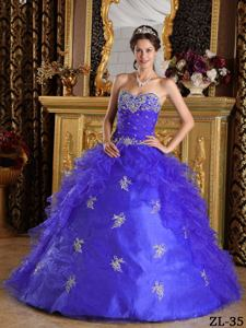 Ruche Embroidery and Appliques Dress For Quinceanera near Charles Town
