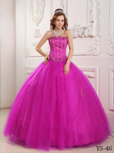 Fuchsia Puffy Dresses For Quinceanera with Embroidery near Elkins WV