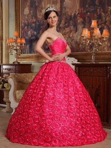 Red Rolling Flowers Quinceanera Gown Dresses with Paillette in Beckley WV