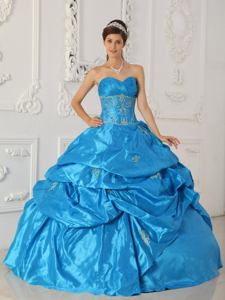 Aqua Blue Ruche Embroidery and Pick Ups Sweet 16 Dresses in Gig Harbor
