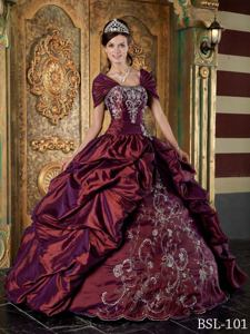 Burgundy Strapless Embroidery Taffeta Quince Dress in Blacksburg Winter
