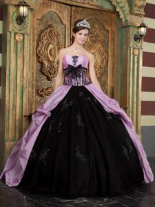 Lavender and Black Strapless Quinceanera Dress with Appliques in Arlington