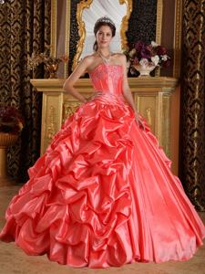 2013 Hot Watermelon Red Sweetheart Embroidery and Beading Quince Dress