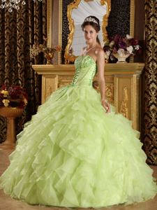 Strapless Embroidery and Beading Yellow Green Dress for Sweet 15 in Burlington