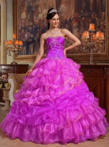 Cheap Fuchsia Sweetheart Organza Beading Sweet Sixteen Dresses in Waco