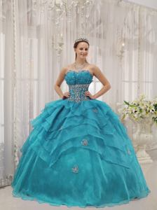 Teal Strapless Organza Beaded and Ruffled Sweet 15 Dresses in Victoria TX