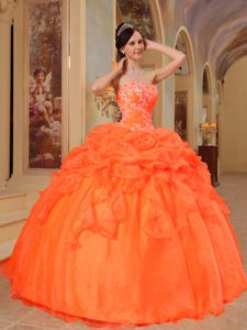 Sweetheart Orange Red Organza Appliques Quinceanera Dress in San Marcos