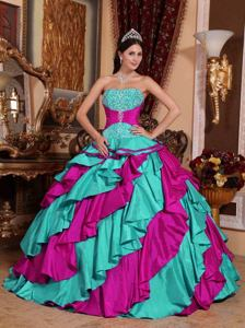 Strapless Colorful Taffeta Embroidery Quinceanera Gown Floor-length in Richardson