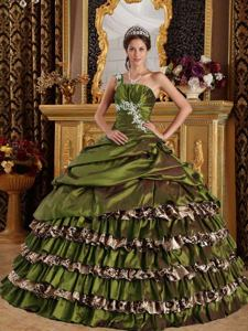 Olive Green One Shoulder Appliques and Ruffled Layers Dress for Quince in Plano