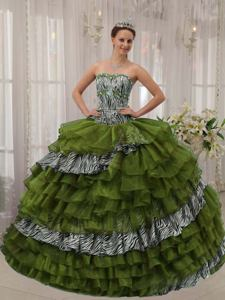 Olive Green Sweetheart Beaded Zebra Quinceanera Dress with Ruffled Layers