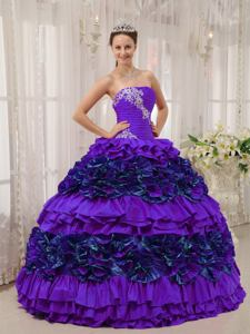 Hot Sale Long Purple Strapless Appliques and Ruching Quinceanera Dress