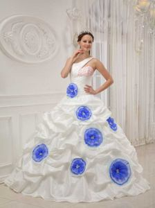 Discounted White One Shoulder Beading and Hand-made Flowers Quince Dress
