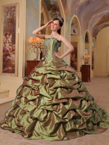 Olive Green Strapless Pick-ups Taffeta Quinceanera Dress with Train in El Paso