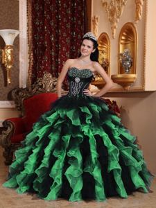 Black and Green Sweetheart Ruffles and Beading Quince Dresses in Denton