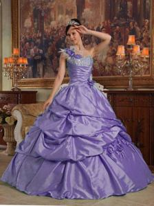 Purple One Shoulder Flowers and Beading Taffeta Quinceanera Dress in Dallas