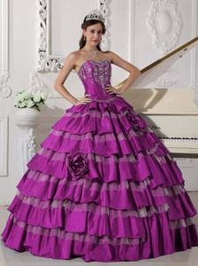 Flowery Fuchsia Sweetheart Quince Dress with Embroidery and Ruffled Layers