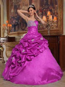 Floor-length Purple Taffeta Sweetheart Beading Sweet 15 Dress in Corpus Christi