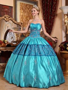 Brand New Sweetheart Embroidery Teal Quinceanera Ball Gown in Carrollton TX
