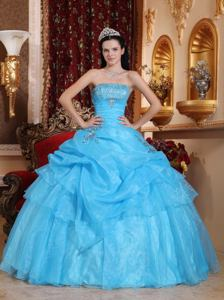 Beaded Strapless Aqua Blue Pick-ups Organza Quinceanera Dress in Bryan TX