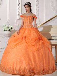 Orange Off The Shoulder Sweet 15 Dress with Appliques and Hand-made Flower