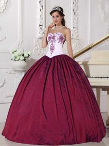 Wine Red Sweetheart Embroidery Taffeta Quinceanera Dress Floor-length