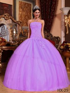 Strapless Lilac Tulle Appliques and Beading Quinceanera Dress in Murfreesboro