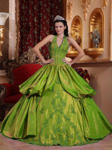 Green Halter Top Floor-length Appliques Quinceanera Dress in Chattanooga