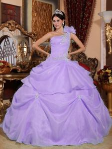 Lilac Single Shoulder Appliques Organza Quinceanera Ball Gown in Sioux Falls