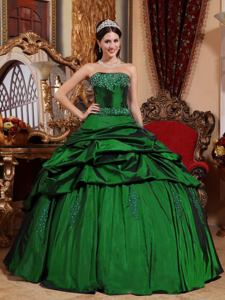 Strapless Beading and Pick-ups Hunter Green Quinceanera Dress in Greenville