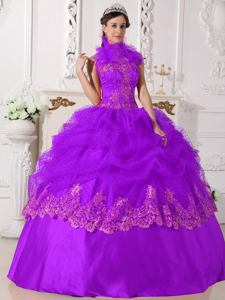 Purple Halter Top Beading and Appliques Puffy Quinceanera Gown in Greenville