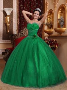 Beaded Sweetheart Floor-length Green Dress For Quinceanera in Columbia SC