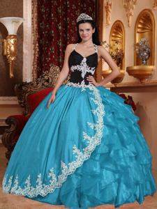 Long Halter Aqua Blue Organza Quinceanera Dress with Applique in Columbia SC