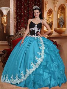 Long Halter Aqua Blue Organza Quinceanera Dress with Applique in Columbia SC