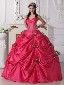 Spaghetti Straps Hot Pink Beading Dress For Quinceanera Floor-length in Clemson