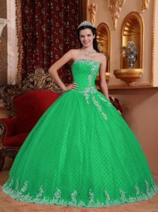 Green Ball Gown Strapless Floor-length Tulle Lace Appliques Quinceanera Dress