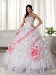 2013 Latest Sweetheart Appliques White Quinceanera Dress with Court Train