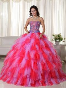 Multi-color Floor-length Strapless Appliques Quinceanera Dress in Warwick RI