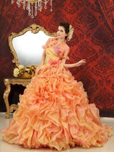 One Shoulder Multi-Color Hand Made Flowers Court Train Quinceanera Dress