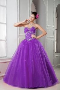 Purple A-line Sweetheart Tulle with Beading Dress For Quinceanera in Waltham