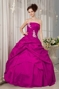 Fuchsia A-line Strapless Taffeta Appliques Quinceanera Dress in Springfield