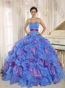 Stylish Multi-color Sweetheart Ruffles With Appliques Sweet Sixteen Dresses