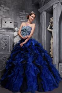 Blue Sweetheart Zebra and Organza Ruffles and Beading Quinceanera Dress
