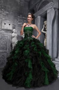 Exclusive Strapless Appliques and Ruffles Multi-color Sweet Sixteen Dresses