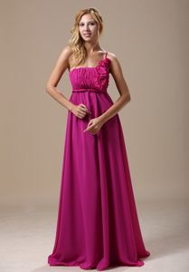 Modest Flowers One Shoulder Fuchsia Brush Quince Damas Dress with Ruche