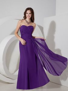 Lovely Sweetheart Floor-length Formal Dress For Damas with Ruche in Purple