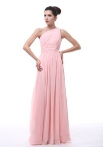 Wholesale Baby Pink One Shoulder Ruched Long 15 Dress For Dama in Taos